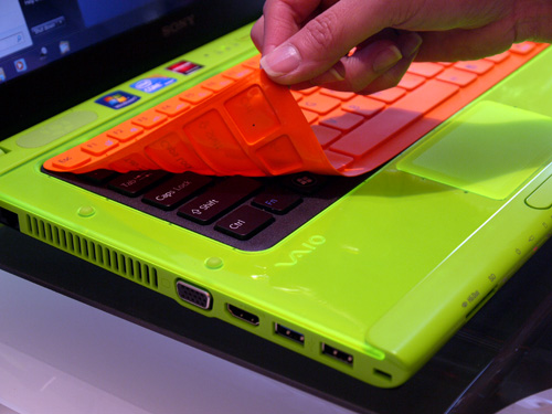 By the way, if the VAIO C's colors aren't garish enough for you, there's always a handy keyboard skin you can slap on to raise the funk.
