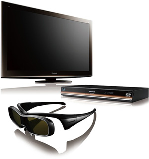 Panasonic's 3D rig comprises of a Full 3D TV, 3D Blu-ray player and a pair of active-shutter glasses. (Image source: Panasonic)
