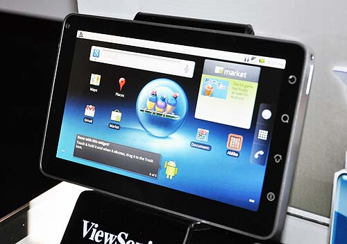 The 7-inch ViewPad 7 comes with features such as Android Market, Android 2.2 OS, voice calls, and multi-touch capabilities. Looks like the Samsung Galaxy Tab has some competition. However bear in mind that the ViewPad 7 has a lower resolution (800 x 480 pixels)  and only 512MB of onboard storage. The Galaxy Tab in contrast, has a 1024 x 600 pixels resolution screen and 32GB for storage.