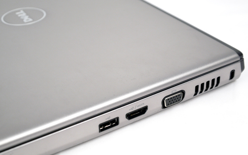 Keeping it simple and uncluttered, a VGA and two USB connectors can be found on its right flank, of which one is a combination of an eSATA and USB port.