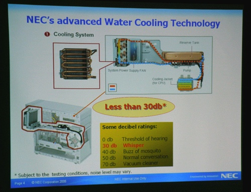 NEC presenting the advantages of their water-cooling technology.