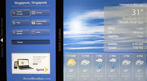 The beautiful Accuweather widget enables you to check the weather status, watch weather reports (videos) as well as extended forecasts for the weeks ahead. You may also add your desired location by visiting the Settings page.