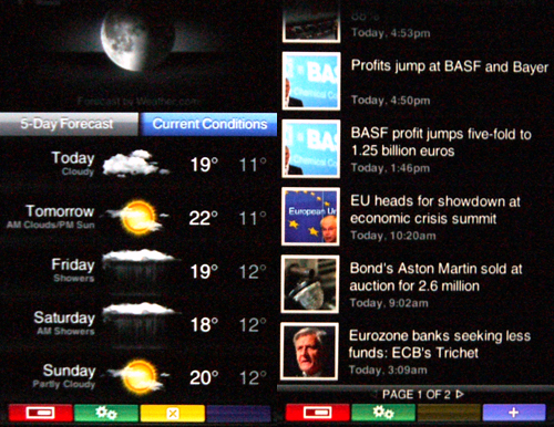 Screenshots of Yahoo Weather and News widgets. Select the green settings button to customize the application or add more elements.