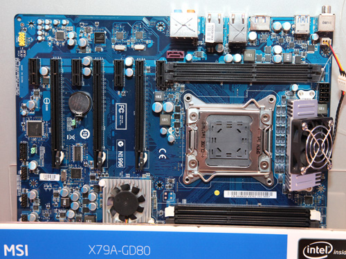 The MSI X79A-GD80 with more cooling fans and six memory slots (as opposed to the standard four slot design in most other boards).