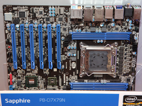 Sapphire's ambitious PB-CI7X79N with six full length PCIe slots.