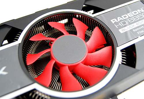 The XFX Radeon HD 6850 Black Edition has a radial heatsink design, which is strikingly similar to a reference card.