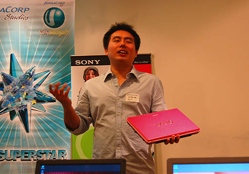 Yap Yung, from Sony's IT Marketing Department, introduces the Blush Pink Sony VAIO C to the media and publicly reveals his close affinity with the notebook's funky, young and girlish color.