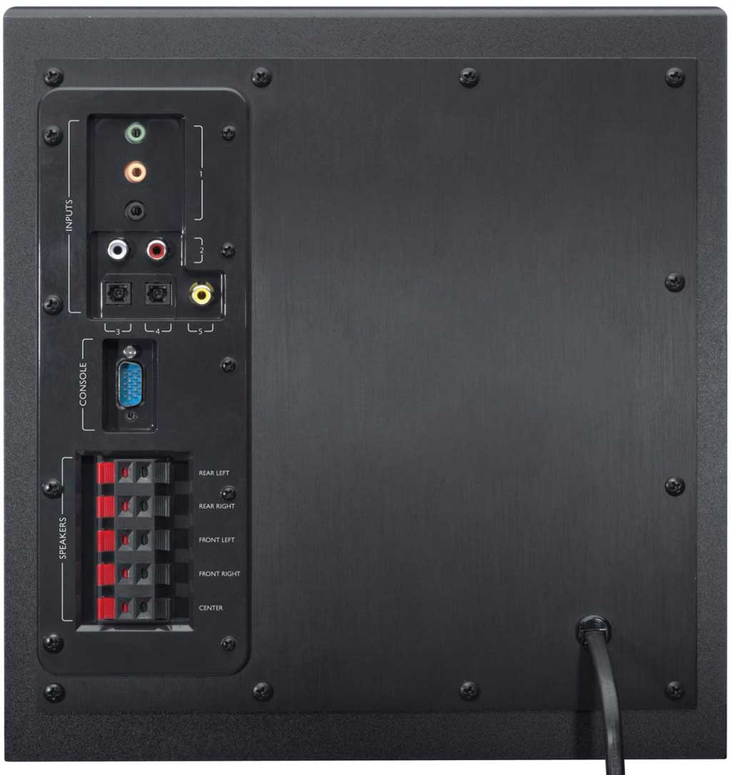 Logitech has thrown in a comprehensive mix of connectors on the Z906. There also is a DB-15 connector where you should hook up the control console. Below this connector are the traditional terminals intended for the center and satellite speakers.