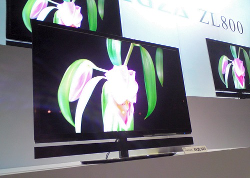 Toshiba's flagship TV for 2011, the 55-inch 55ZL800 series TV. The ZL800 series boasts the new CEVO engine, Mega LED panel and 2D to 3D conversion with 3D Resolution+ processing.