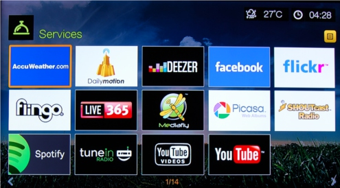 The list of Internet-based offerings on the Live is probably the most comprehensive we've seen so far in media players.