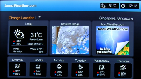 The AccuWeather service provides the weather forecast for the day, as well as forecasts for the next three days. It also includes additional information such as humidity level and wind speed.