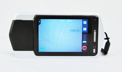 Almost every shooting control or setting is adjusted via the 3.0-inch touch screen; here, you can see the zoom slider on the right side of the screen.
