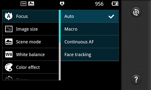 The camera menu bears close resemblance to the one on the LG Optimus 2X, sporting a simple interface that's easy to use.