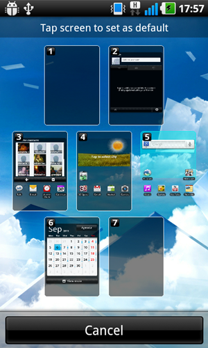 Pinch on any home screen to get an overview of all 7 pages. From here, a button allows you to set your default canvas.