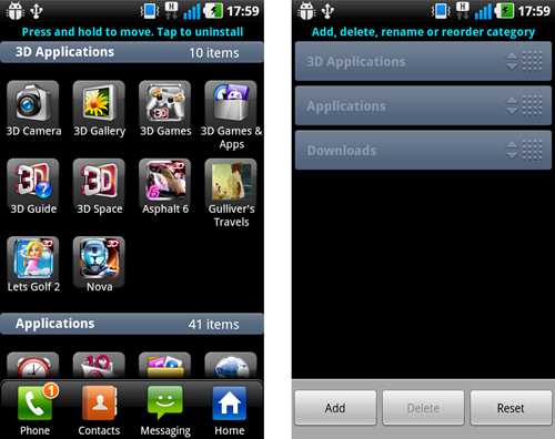Managing your apps (left) and managing categories (right).