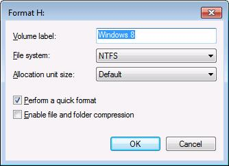"Use a meaningful volume label and click ""OK"" to format the unallocated space."