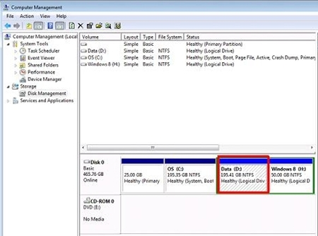 Select a logical drive with sufficient disk space (more than 50GB).