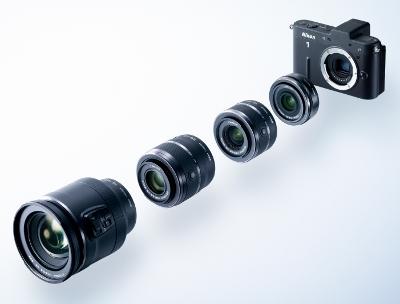 The Nikon 1 V1 with the four interchangeable Nikon 1 mount lenses