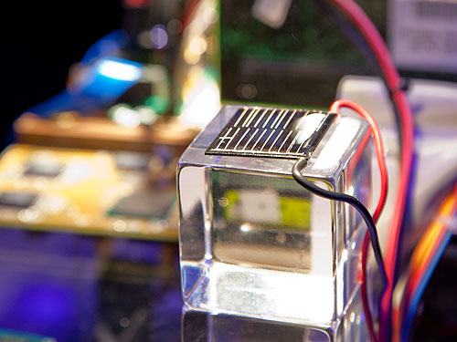 This tiny solar cell is all it takes to power up the prototype processor.