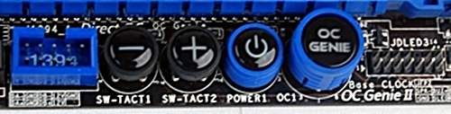 The smaller button with the blue trimming is the power button while the rest of the buttons are for overclocking purposes. For such purposes, MSI recommends using memory modules which have clock frequencies of 1333MHz or higher.