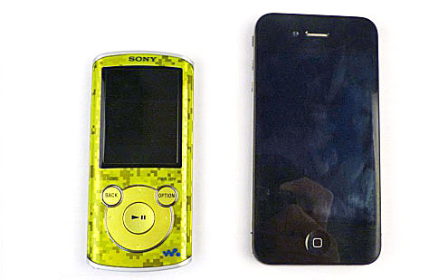 Here's a size comparison between the lime green NWZ-E463 and the iPhone 4.