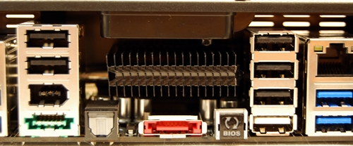 The silver heatpipe extends to this heatsink that seats above the bright orange external SATA port. The back plate provided has ventilation holes that allows heat dissipation from this heatsink.
