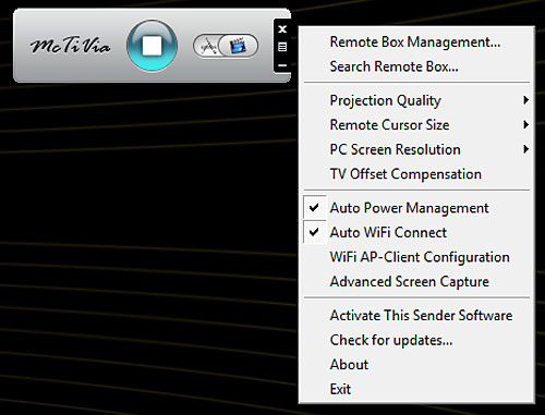 Clicking the Menu button (the central document-looking icon) on the McTiVia desktop panel brings up further options.