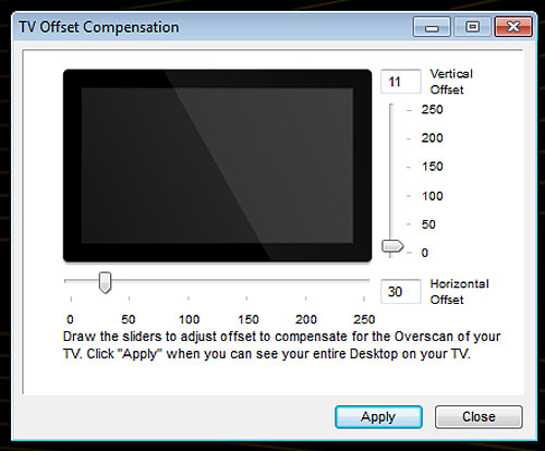 If you've edges of the screen being chopped off, use the TV Offset Compensation setting to shrink the projected screen to fit your TV.