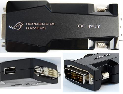 The OC Key works with the on-board iROG chip so that through the OSD Tweakit menu, extreme overclockers are able to perform on-the-fly hardware tweaking without any other software. Through the OSD Monitor, extreme users can monitor the system settings without any additional overheads. By pressing the ROG Connect button located at the board's rear I/O panel, the input keyboard can be toggled for the interacting with the OSD menus and not interfere with your OS or benchmarking software running simultaneously. As explained, this would mean the OC Key sits at the output of your graphics card and provides a pass-through connector for your monitor.