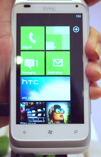 We spotted the HTC Radar at an earlier Windows Phone event, so we weren't taken aback by its appearance today at the launch event. The smartphone runs on the Windows Phone 7.5 (Mango) OS and comes with three touch controls.