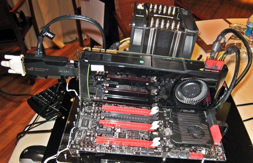 This Rampage Extreme IV board was on display at the technical seminar. The appendage that extends from the GeForce graphics card is the OC Key, a revolutionary OC equipment that is bundled with ROG Extreme series models only. It offers on-the-fly hardware tweaking without any software as well as outside the UEFI BIOS and operating system environment.
