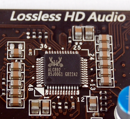 The integrated ALC892 HD audio CODEC chipset is from Realtek, which has a virtual monopoly over the supply of such chipsets to motherboard manufacturers.