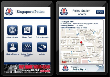 The Police@SG app gives you the latest crime news, including recent crimes reported in your area, missing persons appeal, and even the location of your nearest police post (Source: Singapore Police Force).