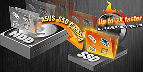 ASUS SSD caching allows the installed SSD to act as a backup drive for the primary HDD. It also speeds up the HDD's performance by storing files that the system accesses frequently on the SSD.