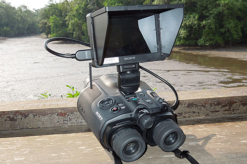 For precise focusing, you can attach a CLM-V55 LCD monitor. For us, that takes away the joy of using the binoculars. You could also clip on the ECM-CG50 external gun-type microphone for higher quality sound captures.