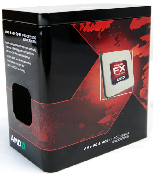 The tin box was empty and the shipped AMD FX-8150 was already mounted on the ASUS Crosshair V Formula motherboard. The processor is stock clocked at 3.6GHz, a Turbo Core frequency of 4.2GHz and features a TDP of 125W.