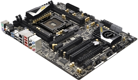 The X79 Extreme4 has more PEG slots for 3-way SLI/CrossFireX display setup on its normal ATX sized layout. Both the Extreme4 and Extreme4 M share the same number of DIMM slots as well as equal number of connectors on their back panels.
