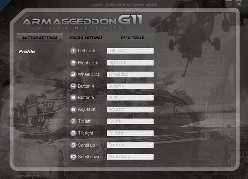 Unlike the mouse itself, the Armageddon G11 software is simple and easy to use.