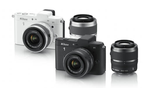 The Nikon 1 V1 comes in black or white, with matching lenses.