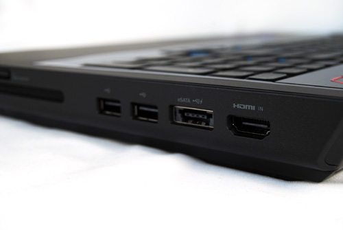 HDMI input is found on the right side, while HDMI output can be found on the left. HDMI input is a rare connectivity option and should be useful for video capture purposes from video camcorders or other such sources.