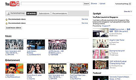 While the user interface does not change much, we do notice a few local suggestions popping up in the recommendations for music and entertainment. (Source: youtube.com.sg)