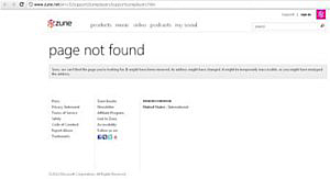 The current message displayed at the same URL. (Source: zune.net)