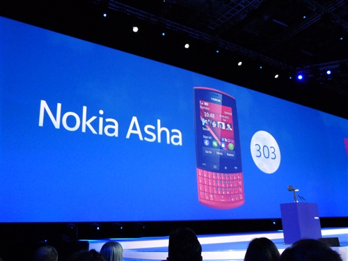 The new Asha 303 is designed with sophisticated materials and comes with metallic finishes