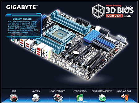The 3D BIOS utility features illustrations of the motherboard in different perspectives. The visuals feature self-explanatory pop-ups to highlight to users which components on the board would be affected by their BIOS settings.