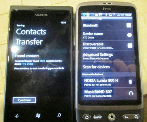 The Contact Transfers function allows for a fuss-free, one-off transfer of all your contacts via Bluetooth. The Nokia representative have tested it successfully on six Bluetooth-compliant devices so far (including the iPhone 4); trying it with our own phone (HTC Desire) yielded positive results as well... at least in terms of detecting our contacts. We'll let you know more when we get our hands on the final sets. Stay tuned!
