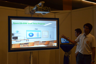 The EB-435W short throw projector was among the projectors being demonstrated at the event