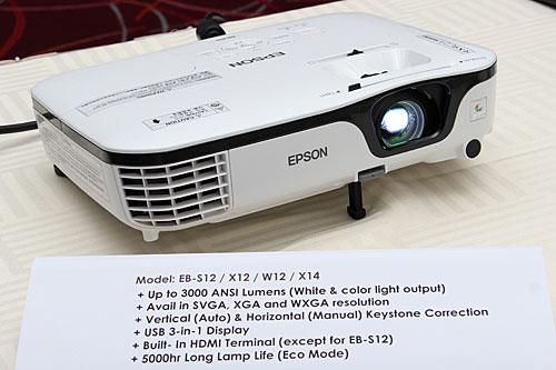 Compared to their predecessors, the four new models in the Epson EB-S, W, and X series have improved brightness of up to 3,000lm. The EB-X12/X14 and EB-W12 also come with an HDMI input. All four models allow for horizontal keystone adjustment.