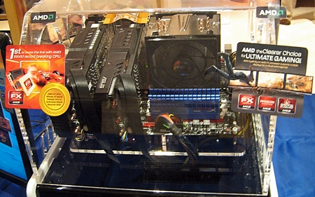 The AMD FX-8150 installed on ASUS CrosshairV Formula with a Radeon HD 6970 and a Radeon HD 6950 pairing for its discrete graphics setup.