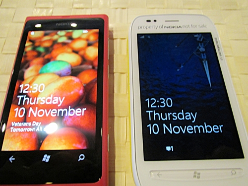Side by side: the Lumia 800 (left) and 710 (right)