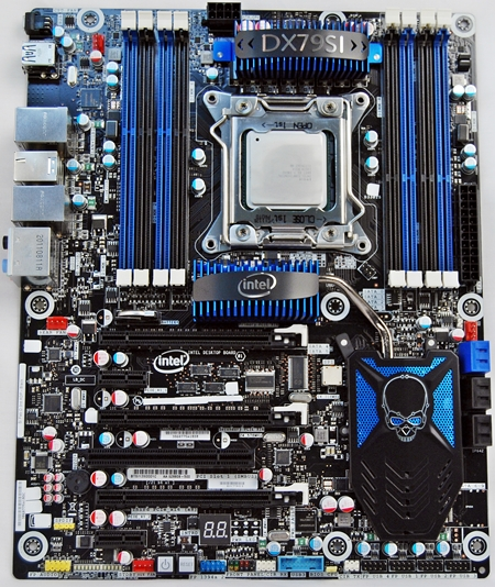 The Intel DX79SI Siler features eight DIMM slots and sports a blue-black color scheme that is similar to mainstream X79 motherboards from MSI, Gigabyte and ASUS. ASRock seems to be the exception for now as their X79 boards are decked out in opulent colors of gilded gold set against black PCBs.
